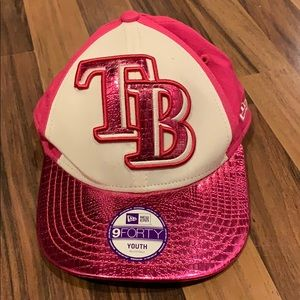 White hot pink Tampa bay rays youth hat